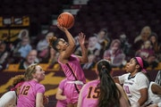 Gophers guard Jasmine Powell jumped for a shot in the second quarter Wednesday vs. Illinois.