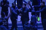Karl-Anthony Towns returned to the court Wednesday after nearly a month away dealing with COVID-19.