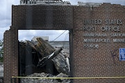 The burned-down post office on Minnehaha Avenue Wednesday.   ]aaron.lavinsky@startribune.com Update on the two U.S. post offices in Minneapolis -- one