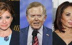Fox News personalities Maria Bartiromo, Lou Dobbs and Jeanine Pirro.