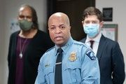 Minneapolis Police Chief Medaria Arradondo, with Council Member Andrea Jenkins and Mayor Jacob Frey, spoke at a news conference at City Hall to talk a