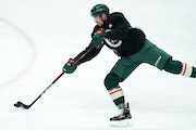 Matt Dumba went through Wild practice on Friday at Xcel Energy Center.