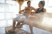 Brittney Merlot and her boyfriend, Mike, relaxed in the Cedar & Stone ice sauna after spending time in the traditional wood sauna on the shore of Lake