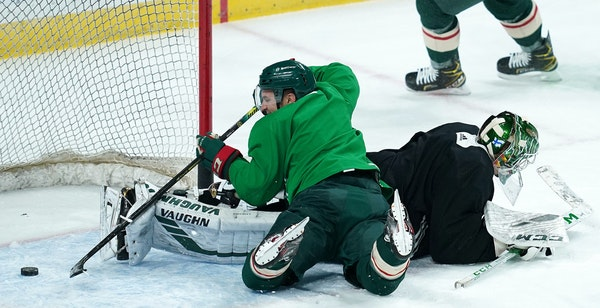 Zach Parise crashed the net, but it was only practice, and Wild goalie Kaapo Kahkonen was also working to find his footing Friday after a layoff.