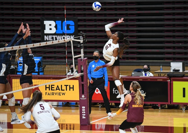 Stephanie Samedy cored off a kill in the second set against Penn State.