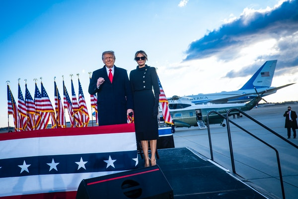 Then-President Donald Trump and first lady Melania Trump at Joint Base Andrews, Md., before boarding Air Force One for the last time in office, Jan. 2