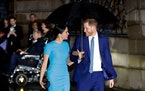 Britain's PrinceHarryandMeghanarrive at the annual Endeavour Fund Awards in London, Thursday, March 5, 2020. The Duke and Duchess of Sussex
