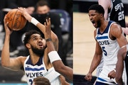 Karl-Anthony Towns, left, and Malik Beasley have been an effective pairing for the Wolves since Towns' return from a serious bout with COVID-19.
