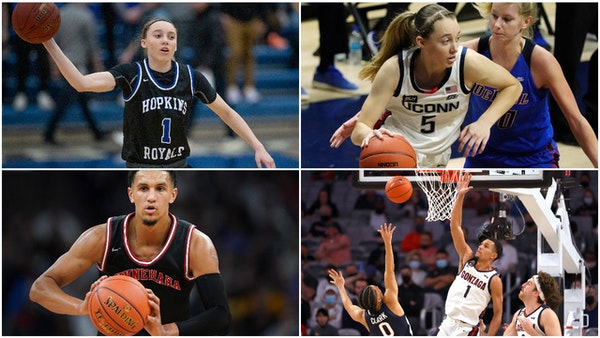 Paige Buckers of Hopkins and Jalen Suggs of Minnehaha Academy are the freshman point guards for the No., 1 women's and men's basketball teams in t