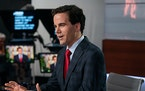"""Robert Costa, the moderator of """"Washington Week,"""" on the set of the weekly program in July 2018."""