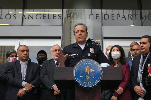 Los Angeles police chief Michel Moore speaks during a vigil with members of professional associations and the interfaith community at Los Angeles Poli
