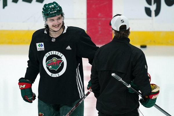 No. 59 with a mullet: Rookie Addison brings big hair to Wild blueline