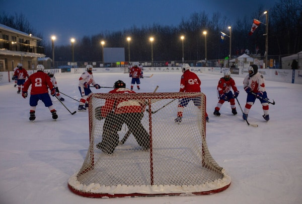 Players took part in the World'sLongestHockeyGamenear Edmonton on Thursday, Feb. 11, 2021. Forty players are taking part in thegamethat