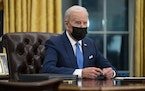 FILE - In this Feb. 2, 2021 file photo, President Joe Biden speaks in the Oval Office of the White House in Washington.