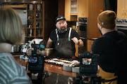 "Chef Gustavo Romero makes tamales with ""Relish"" host Yia Vang."