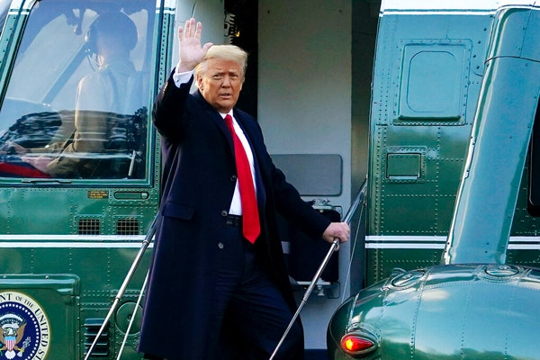 President Donald Trump waved as he boarded Marine One on the South Lawn of the White House, in Washington, en route to his Mar-a-Lago Florida Resort o