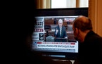 House impeachment managers watch Senate Minority Leader Mitch McConnell, R-Ky., speak after the Senate voted to acquit former President Donald Trump,