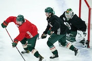 Wild defenseman Calen Addison joined the Wild for practice last Friday before making his NHL debut on Tuesday.