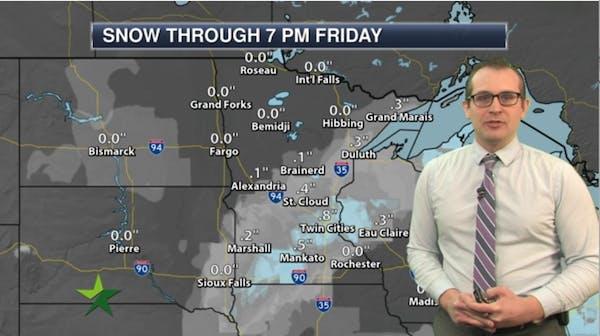 Morning forecast: Light snow; high 12