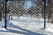 A pop-up sculpture near S. Griggs Street and Summit Avenue featured ice blocks hung from metal strings in the form of a heart on Valentine's Day. (P