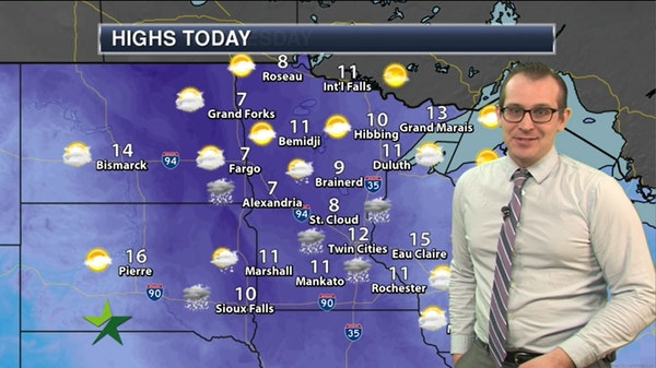 Afternoon forecast: 12, lingering chance of light snow