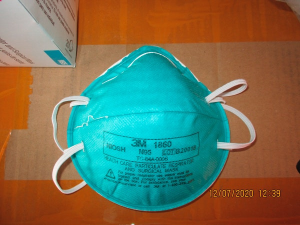 A counterfeit N95 surgical mask that was seized by ICE and U.S. Customs and Border Protection.