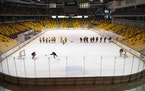 The UMD women's hockey team practiced Thursday at Amsoil Arena, one DECC space that's been in semi-regular use.