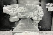 """Ice sculptor Chris Swarbrick makes a famous Dali artwork, """"Aphrodisiac Telephone,"""" entirely out of ice. Photo provided by Mia."""