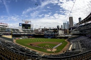 One of Target Field's many great sights: A National Anthem flyover