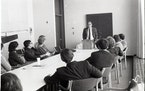 University of Minnesota Duluth Joel Labovitz leads a class at UMD in October 1984. Labovitz taught some of the first entrepreneurships at the college,