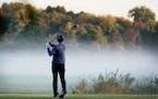A golfer teed off at Hiawatha in October.