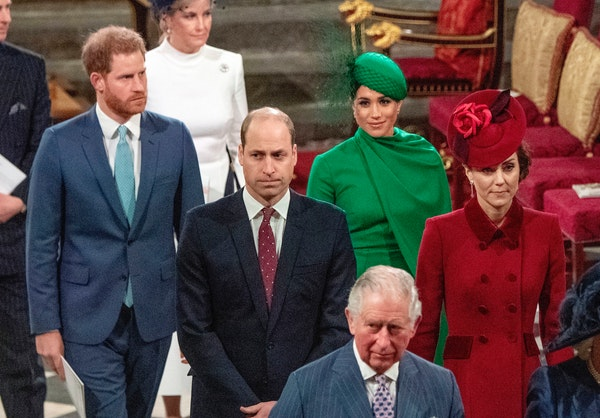 FILE - In this file photo dated Monday March 9, 2020, from back, Britain's Prince Harry and Meghan Duchess of Sussex, Prince William and Kate, Duche