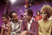 "Ellis Haizlip with the J.C. White Singers on the set of ""Soul!"""