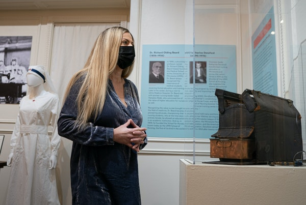 "Hennepin History Museum curator Alyssa Thiede researched and organized the ""Local Heroes"" exhibit that showcases health care pioneers who shaped m"