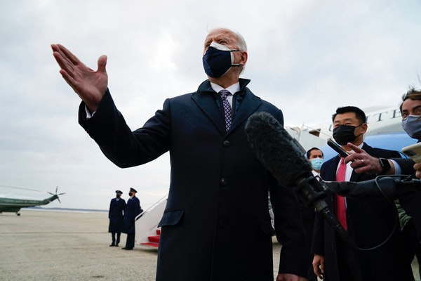 President Joe Biden said Friday that he hopes to travel to Texas next week but doesn't want his presence and the accompanying presidential entourage