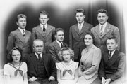 """A remarkable group: the langsjoen family  Seated from left, Trudy, father Nels """"Pops,"""" Harald, Alma """"Doopy,"""" mother Alma and Ralph. Standing,"""