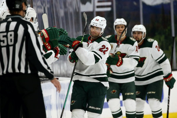Kevin Fiala (22) celebrated the second of his two goals on Saturday night at Anaheim. Fiala added on his first assist of the season in the third perio