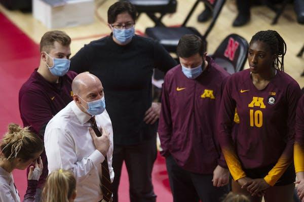 "Gophers volleyball coach Hugh McCutcheon spoke to his team before Sunday's match at Nebraska. McCutcheon said of his team's first loss: ""Hard to"