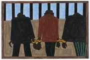 A panel of The Great Migration series by African-American artist Jacob Lawrence.