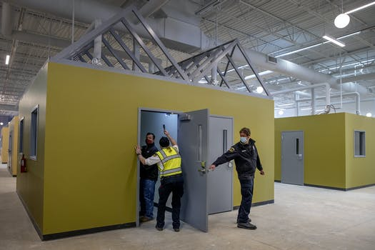 The Minneapolis Fire Inspectors made their way through tiny homes to make sure the fire alarms are working, Friday, February 19, 2021 in Minneapolis.