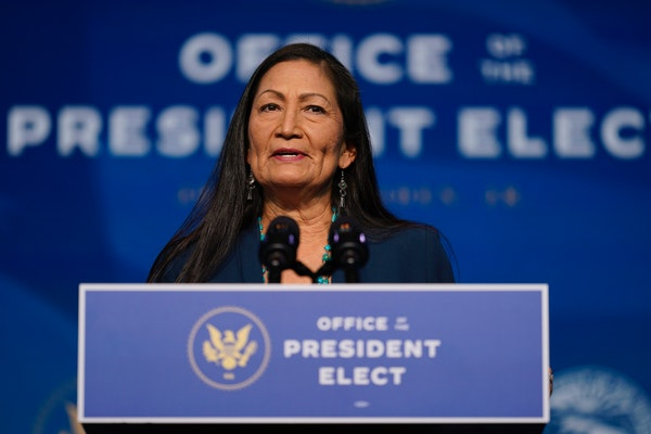 Secretary of Interior nominee Rep. Deb Haaland, D-N.M., speaks at the Queen Theater in Wilmington, Del., on Dec. 20, 2020. Haaland has stood with fell