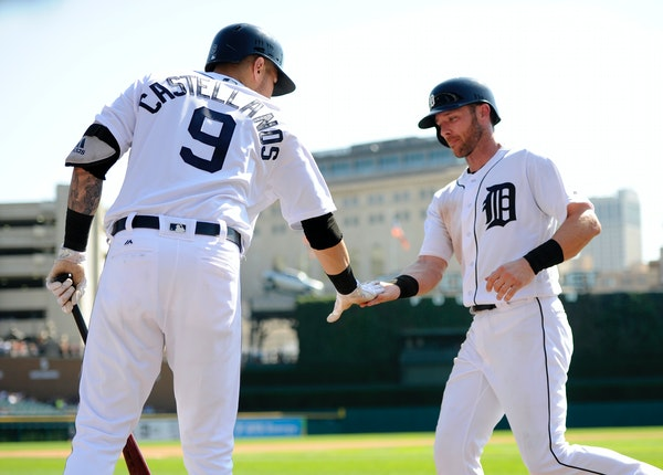 Andrew Romine, right, played against the Twins during a 2017 game.