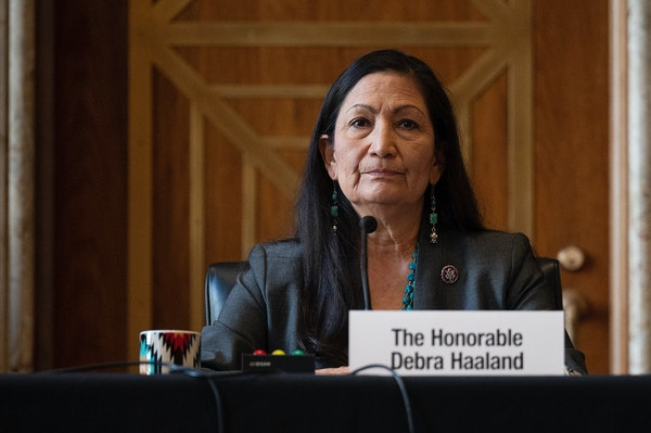 Rep. Deb Haaland, D-N.M., listens during the Senate Committee on Energy and Natural Resources hearing on her nomination to be Interior Secretary, Tues