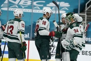 Wild goalie Kaapo Kahkonen was congratulated by teammates after their 6-2 victory at San Jose on Monday night.