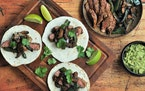 Meredith Deeds • Special to the Star TribuneCooking steak, mushrooms and peppers over high heat results in flavorful fajitas.