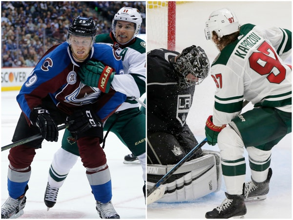 League MVP Nathan MacKinnon of Colorado and Wild rookie Kirill Kaprizov are the feature attractions of the top lines in tonight's Wild-Avs game.