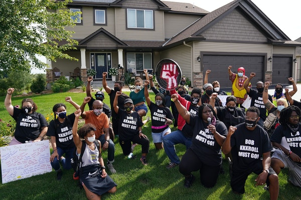 Black Lives Matter protesters knelt outside the Hugo home of Minneapolis Police Federation President Bob Kroll in August.