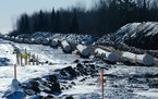 Sections of pipe await placement near Grand Rapids, Minn., for the Enbridge Line 3 project on Feb. 8.