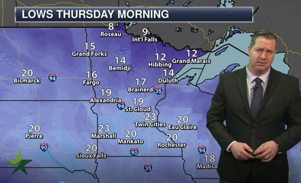 Evening forecast: Low of 23, cloudy with some light snow possible