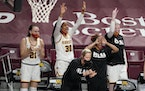 The Minnesota bench celebrated a play during the second half.